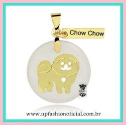 COLAR PET CHOW CHOW FOLHEADO A OURO 18K