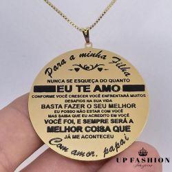 MANDALA CHAPA  MASCULINO FRASE PARA MINHA FILHA  FOLHEADO A OURO 18K