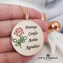 COLAR ENTREGO , CONFIO, ACEITO E AGRADEÇO FOLHEADO A OURO 18k