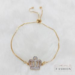 Pulseira com coroa de zircônia e corrente regulável folheado a ouro 18k