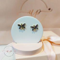 Brinco de libélula com zircônia coloridas folheado em ouro 18k